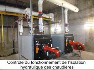 Controle du fonctionnement de l'isolation hydraulique des chaudières avec bruleur externe